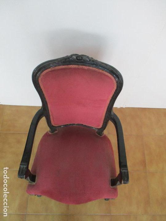 Antigüedades: Lote de 6 Sillones - Estilo Luis XV - Madera Tallada - Laca Negra - Tapizados - Principios S. XX - Foto 5 - 112942900
