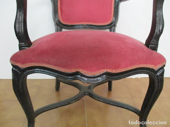 Antigüedades: Lote de 6 Sillones - Estilo Luis XV - Madera Tallada - Laca Negra - Tapizados - Principios S. XX - Foto 6 - 112942900