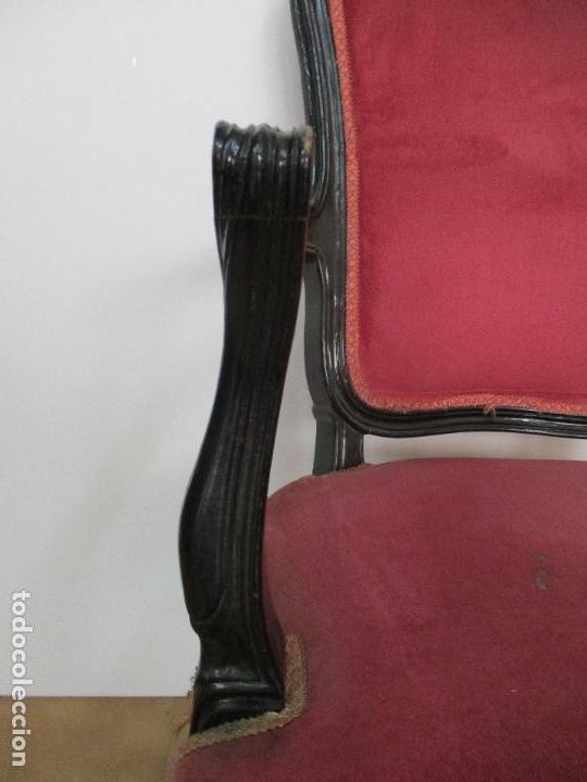 Antigüedades: Lote de 6 Sillones - Estilo Luis XV - Madera Tallada - Laca Negra - Tapizados - Principios S. XX - Foto 7 - 112942900