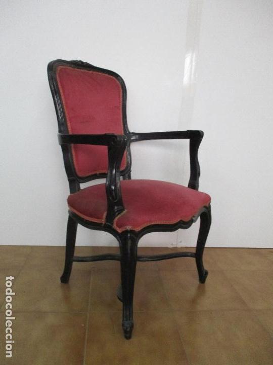 Antigüedades: Lote de 6 Sillones - Estilo Luis XV - Madera Tallada - Laca Negra - Tapizados - Principios S. XX - Foto 12 - 112942900
