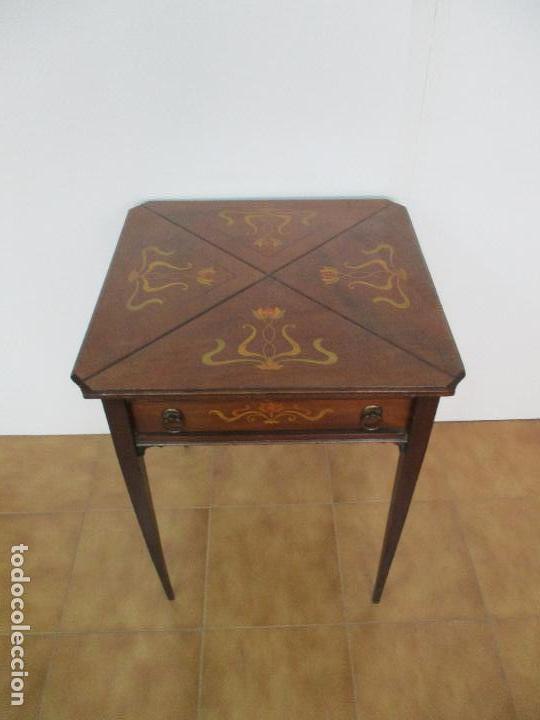 Antigua mesa de juego madera de caoba marqu comprar - Madera para marqueteria ...