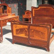 Antigüedades: DORMITORIO MODERNISTA. MADERA DE CAOBA Y MARQUETERIA. CIRCULO GASPAR HOMAR. CATALUNYA. SIGLO XIX.. Lote 90712215