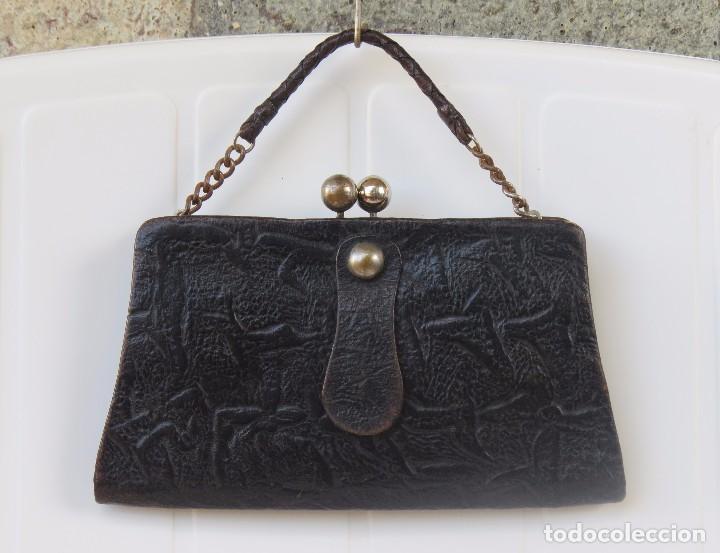 Antigüedades: ANTIGUO ORIGINAL BOLSO PIEL - Foto 2 - 90799495