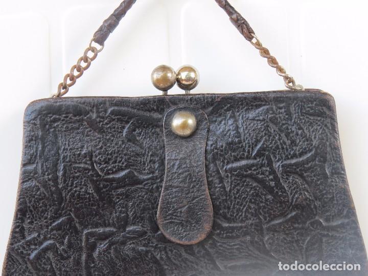 Antigüedades: ANTIGUO ORIGINAL BOLSO PIEL - Foto 3 - 90799495
