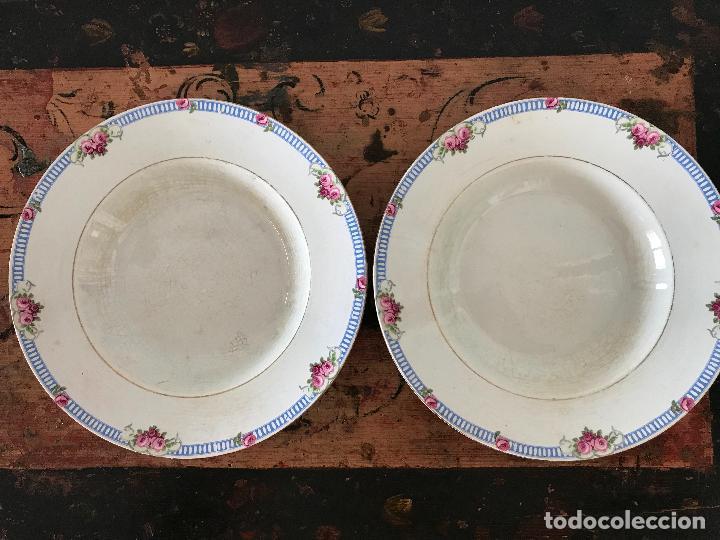 Antigüedades: Conjunto de 12 platos de cerámica antigua Sandeman Macdougall.Sello fábrica y tinta porcelana opaca - Foto 5 - 89789388