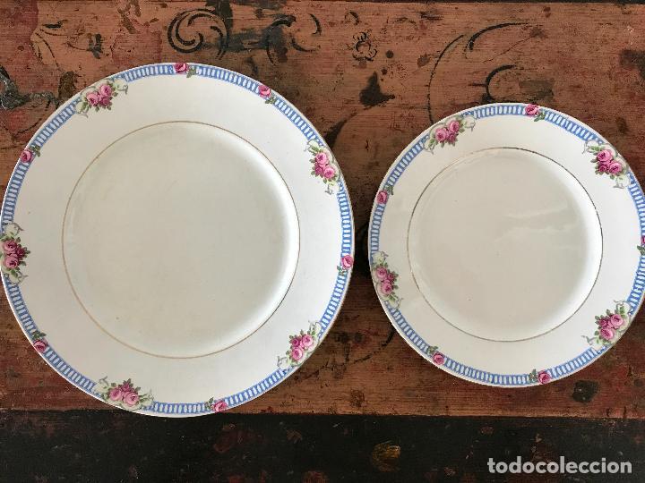 Antigüedades: Conjunto de 12 platos de cerámica antigua Sandeman Macdougall.Sello fábrica y tinta porcelana opaca - Foto 6 - 89789388