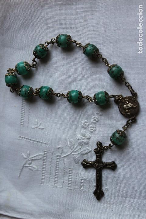 Antigüedades: ANTIGUO ROSARIO CUENTAS VERDES DE MANO SAN PASCUAL BAILON ITALIA - Foto 3 - 213859113