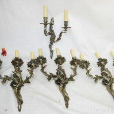 Antigüedades: 4X LAMPARAS ANTIGUAS PARED APLIQUES BRONCE PLATEADO ESTILO MODERNISTAS . LAMPARA APLIQUE ANTIGUO . Lote 90829900