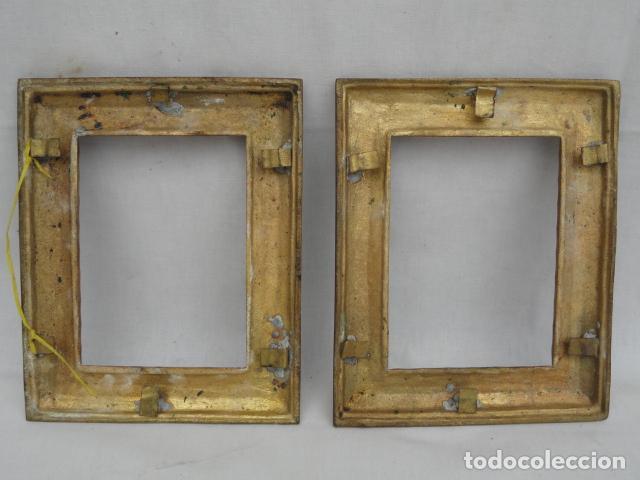 Antigüedades: BONITA PAREJA DE MARCOS DE METAL DORADO. - Foto 4 - 90830880