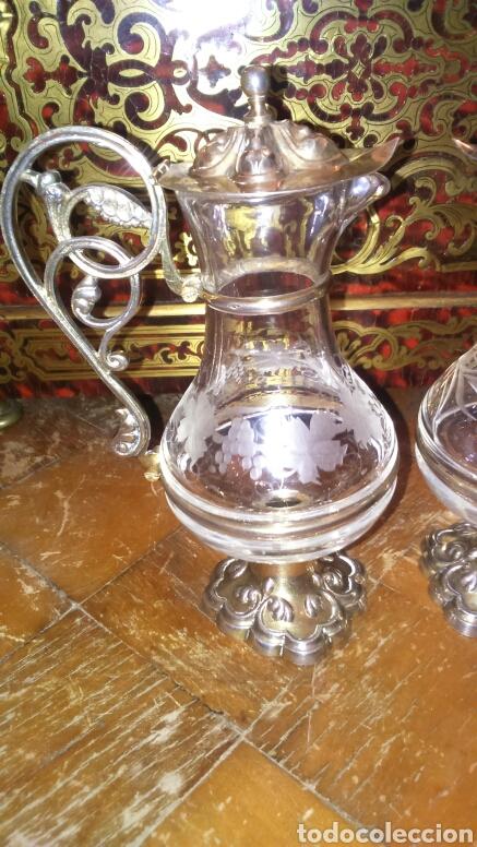 PAREJA DE VINAGERAS LITÚRGICAS EN CRISTAL Y PLATA DE LEY SIGLO XIX.M.GALLEN FERRERES,MARCADOR TELLEZ (Antigüedades - Cristal y Vidrio - La Granja)