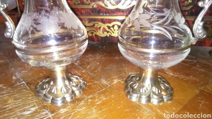 Antigüedades: Pareja de vinageras litúrgicas en cristal y plata de ley siglo XIX.M.GALLEN FERRERES,marcador Tellez - Foto 2 - 90854629