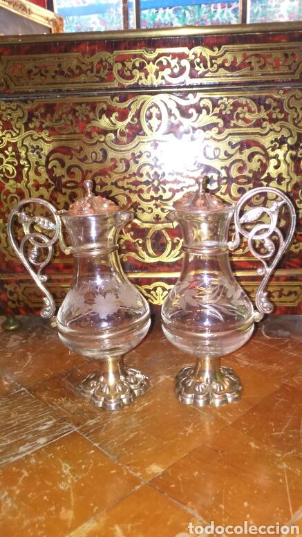 Antigüedades: Pareja de vinageras litúrgicas en cristal y plata de ley siglo XIX.M.GALLEN FERRERES,marcador Tellez - Foto 4 - 90854629