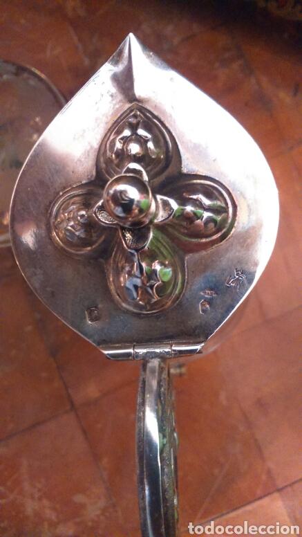 Antigüedades: Pareja de vinageras litúrgicas en cristal y plata de ley siglo XIX.M.GALLEN FERRERES,marcador Tellez - Foto 6 - 90854629