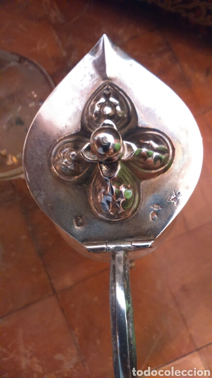 Antigüedades: Pareja de vinageras litúrgicas en cristal y plata de ley siglo XIX.M.GALLEN FERRERES,marcador Tellez - Foto 10 - 90854629