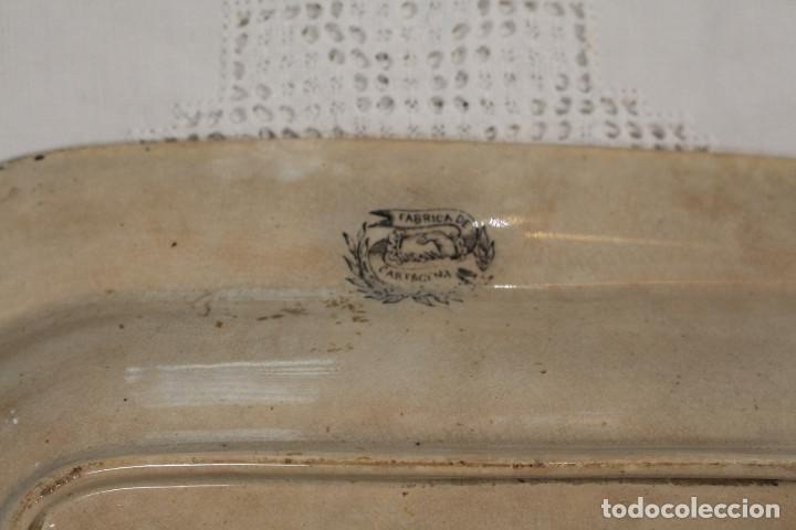 Antigüedades: Bandeja o fuente rectangular de loza fina La Amistad de Cartagena, S. XIX - Foto 4 - 222711691