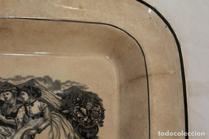 Antigüedades: Bandeja o fuente rectangular de loza fina La Amistad de Cartagena, S. XIX - Foto 6 - 222711691