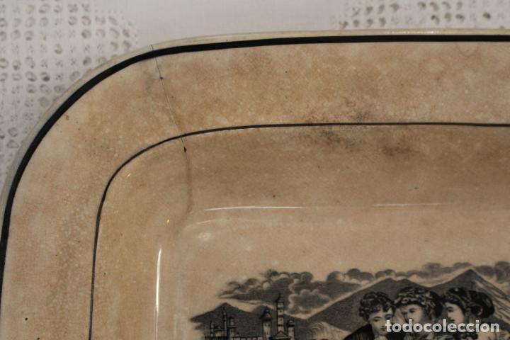 Antigüedades: Bandeja o fuente rectangular de loza fina La Amistad de Cartagena, S. XIX - Foto 7 - 222711691