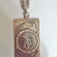 Antigüedades: COLGANTE CABEZA DE INDIO Y CADENA PLATA DE LEY. Lote 90889985