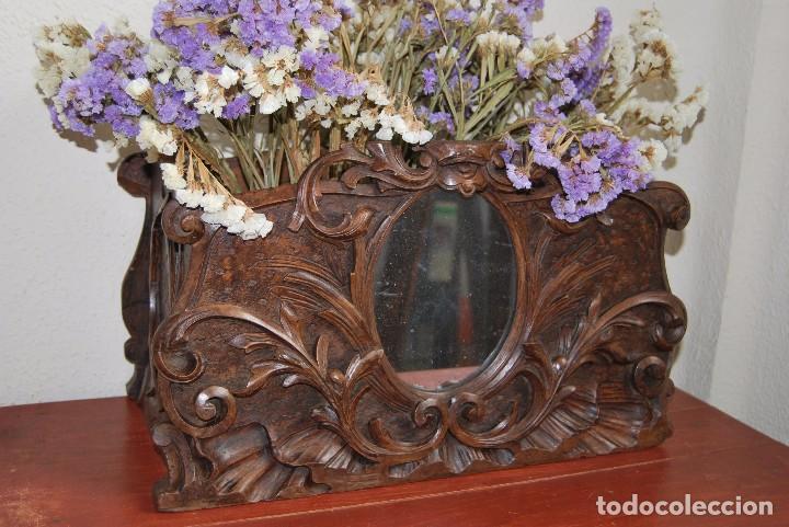 MACETERO MODERNISTA DE MADERA TALLADA CON ESPEJO - JARDINERA - ART NOUVEAU - SIGLO XIX (Antigüedades - Hogar y Decoración - Jardineras Antiguas)