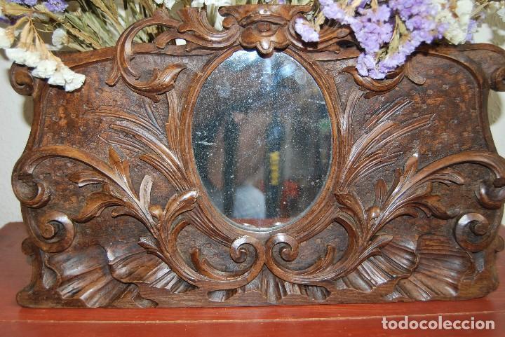 Antigüedades: MACETERO MODERNISTA DE MADERA TALLADA CON ESPEJO - JARDINERA - ART NOUVEAU - SIGLO XIX - Foto 3 - 90917165