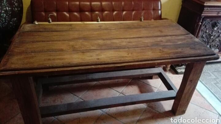 Antigüedades: Mesa con puerta antigua pino macizo - Foto 2 - 90931939