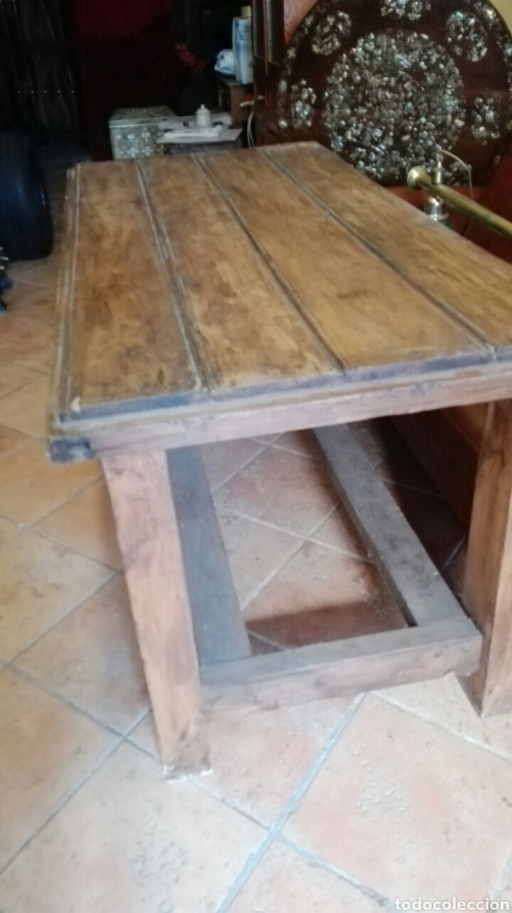 Antigüedades: Mesa con puerta antigua pino macizo - Foto 3 - 90931939