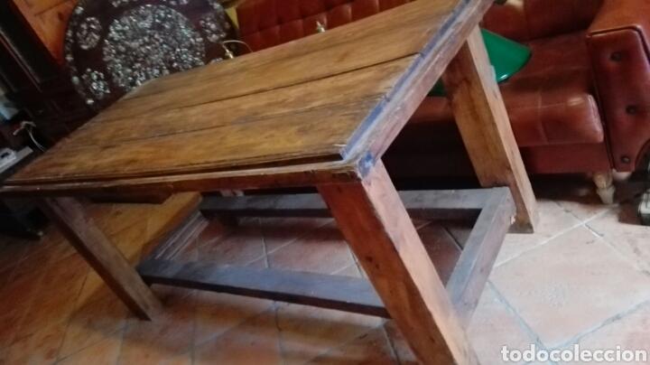 Antigüedades: Mesa con puerta antigua pino macizo - Foto 4 - 90931939