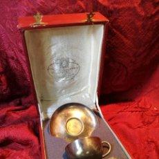 Antigüedades: TAZA PLATO Y CUCHARA CAFE PLATA MENESES, CIRCA 1930-40 CON INICIALES AC. Lote 128078330