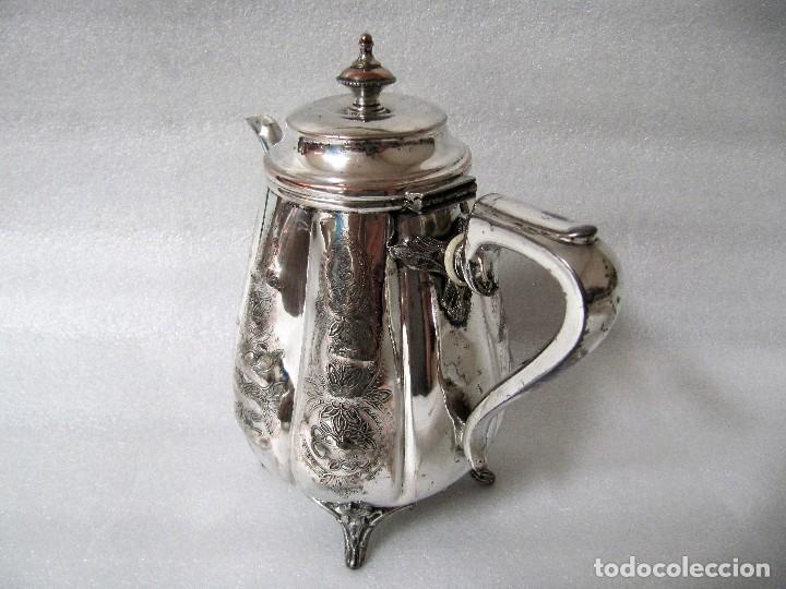 Antigüedades: Tetera INGLESA repujada electroplata 630 gramos SELLO WARRANTED ENGLISH ELECTROPLATE - Foto 2 - 90968910