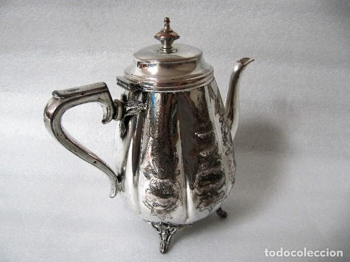 Antigüedades: Tetera INGLESA repujada electroplata 630 gramos SELLO WARRANTED ENGLISH ELECTROPLATE - Foto 3 - 90968910