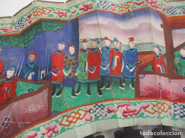 Antigüedades: Precioso Abanico de las Mil Caras - China - Caras en Marfil - Vestidos Seda - Dinastía Qnig - S. XIX - Foto 5 - 90980015