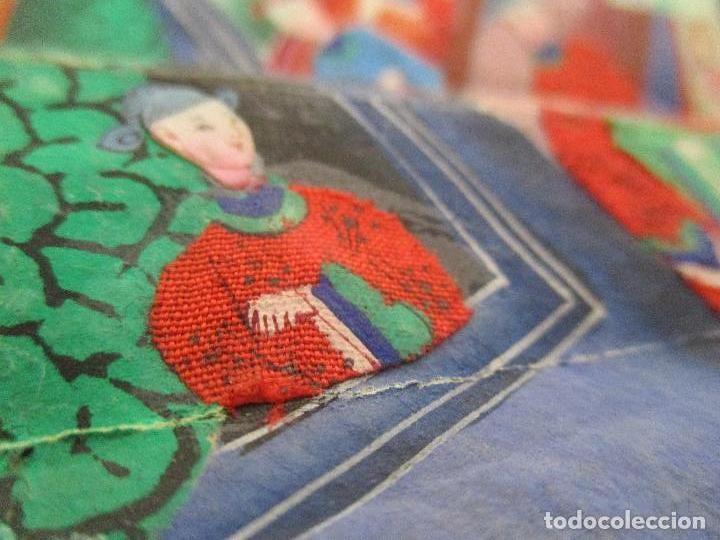 Antigüedades: Precioso Abanico de las Mil Caras - China - Caras en Marfil - Vestidos Seda - Dinastía Qnig - S. XIX - Foto 7 - 90980015