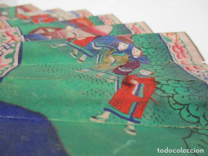 Antigüedades: Precioso Abanico de las Mil Caras - China - Caras en Marfil - Vestidos Seda - Dinastía Qnig - S. XIX - Foto 12 - 90980015
