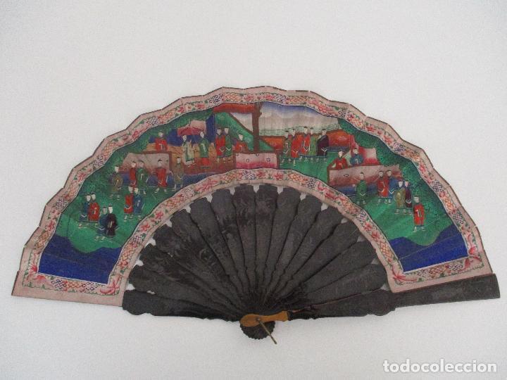 Antigüedades: Precioso Abanico de las Mil Caras - China - Caras en Marfil - Vestidos Seda - Dinastía Qnig - S. XIX - Foto 30 - 90980015