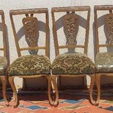 Antigüedades: 6 SILLAS Y MESA EN CONJUNTO, SIGLO XIX. Lote 91005605