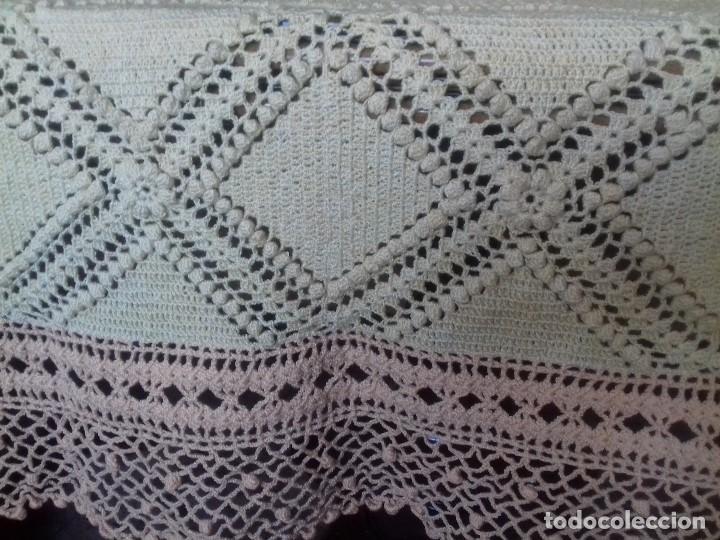 Antigüedades: ANTIGUA, BONITA Y ORIGINAL COLCHA DE CROCHET DE GARBANZO, HECHA A MANO. - Foto 3 - 91250490