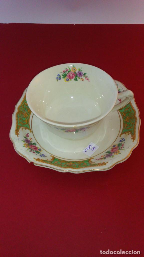 TAZA CON PLATO PORCELANA INGLESA (Antigüedades - Porcelanas y Cerámicas - Inglesa, Bristol y Otros)