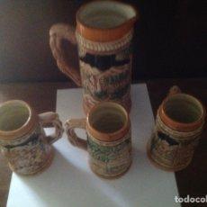 Antigüedades: JUEGO JARRAS CERVEZA PORCELANA-CERAMICA 1 GRANDE Y 3 MEDIANAS. Lote 91259763