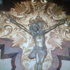 Antigüedades: ÇRUCIFIJO MEDERA METAL Y BRONCE. Lote 162511797