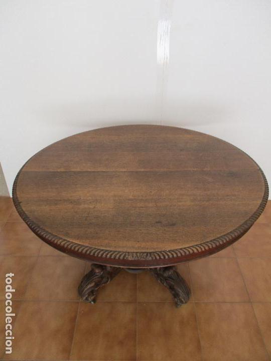 Antigüedades: Antigua Mesa de Comedor - Extensible - Madera de Roble - Pata de Bola, Tallada - Francia - S. XIX - Foto 2 - 91328305
