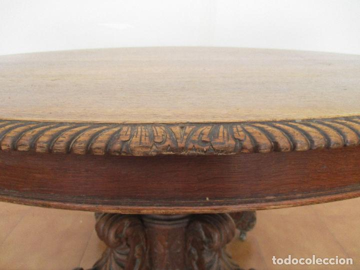Antigüedades: Antigua Mesa de Comedor - Extensible - Madera de Roble - Pata de Bola, Tallada - Francia - S. XIX - Foto 4 - 91328305