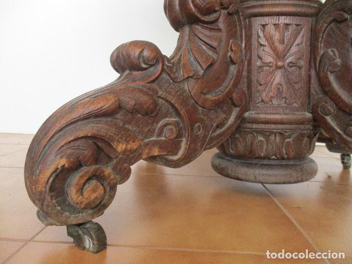 Antigüedades: Antigua Mesa de Comedor - Extensible - Madera de Roble - Pata de Bola, Tallada - Francia - S. XIX - Foto 8 - 91328305