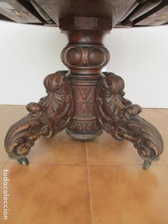 Antigüedades: Antigua Mesa de Comedor - Extensible - Madera de Roble - Pata de Bola, Tallada - Francia - S. XIX - Foto 9 - 91328305