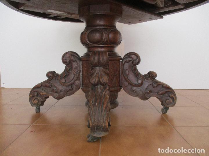 Antigüedades: Antigua Mesa de Comedor - Extensible - Madera de Roble - Pata de Bola, Tallada - Francia - S. XIX - Foto 11 - 91328305