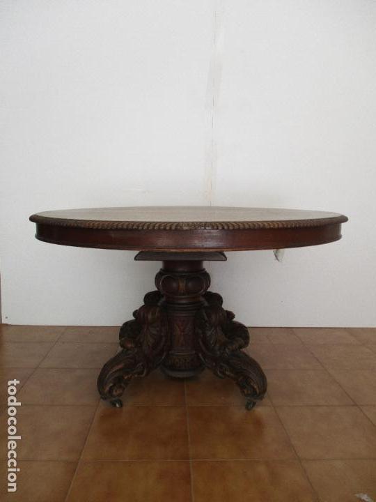 Antigüedades: Antigua Mesa de Comedor - Extensible - Madera de Roble - Pata de Bola, Tallada - Francia - S. XIX - Foto 16 - 91328305