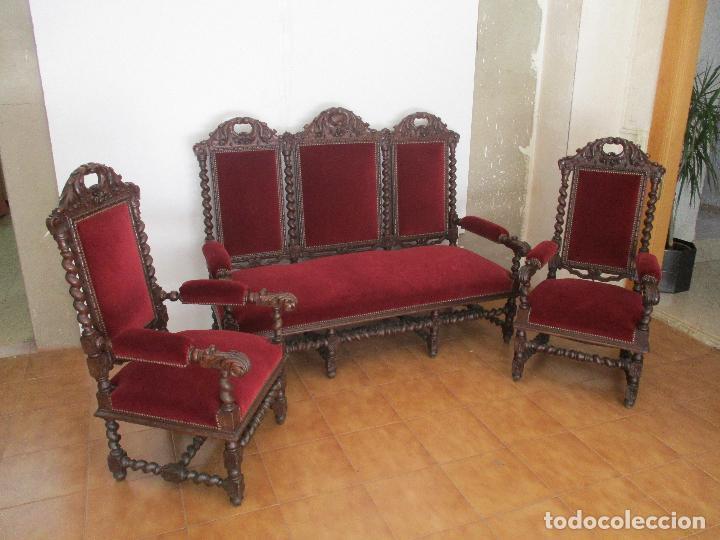 Antiguo tresillo sof sillones madera de comprar for Sofas antiguos