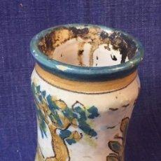Antigüedades: PEQUEÑO ALBARELO BOTE TARRO FARMACIA TALAVERA PUENTE TORREON ARBOLES S XIX 8X5,5CMS. Lote 91375175