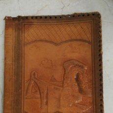 Antigüedades: CARPETA CUERO REPUJADO. Lote 91390730