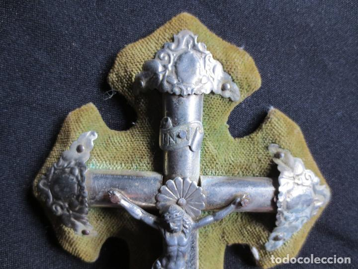 Antigüedades: ANTIGUO CRUCIFIJO CON BENDITERA SIGLO XIX - Foto 4 - 91435425