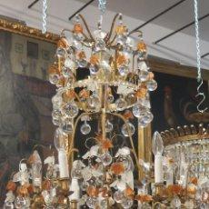 Antigüedades: IMPORTANTE LAMPARA DE BOLAS Y HOJAS DE CRISTAL DE BOHEMIA. Lote 91452330